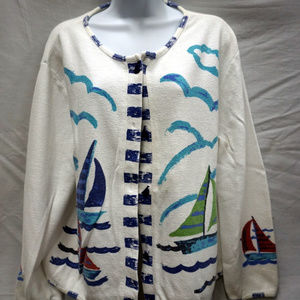 ONQUE CASUALS Sailboat Beachy Theme Cardigan
